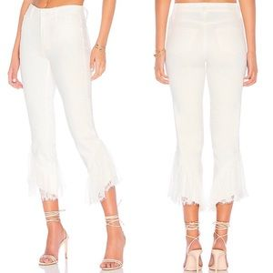 PAIGE Horton Straight Ankle Laced Ruffle Jeans
